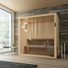 bad wellness24 sauna kyra mit glasfront fürs badezimmer