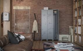 View In Gallery Industrial Urban Masculine Apartment Nordes Locker Storage