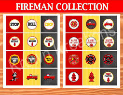 100 Fire Truck Cupcake Toppers FIREMAN Birthday Fighter CUPCAKE TOPPERS Station