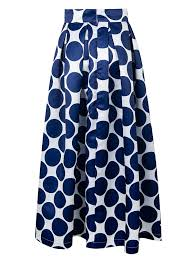 persun womens blue contrast polka dot print maxi skater skirt at