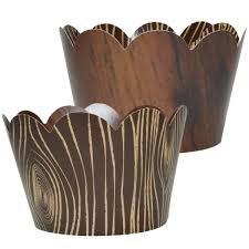 Amazoncom WoodGrain Cupcake Wrappers 36 Wild One Woodland