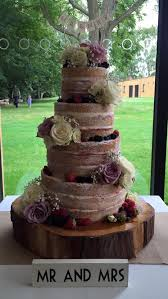 More Details Tiered Naked Rustic Wedding Cake With Berries And Fresh Roses Victorias Company Market Harborough Leicestershire