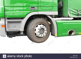 Big Green Truck. Isolated Over White. Fragment Stock Photo ...
