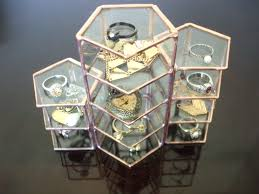 Set Of Three Copper Glass Display Cases Box Jewelry Case Stained Geometric