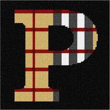 Needlepoint Canvas Letter P Camel Tartan