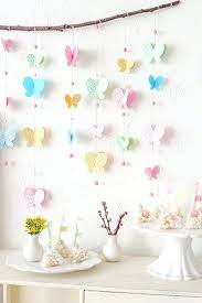 Wall Decoration With Paper Craft Floral Printed Butterfly Mobile Branch Porcelain Vases