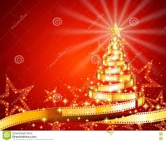Pine Tree Made Of Filmstrip Christmas And New Year Background Illustration For Holiday Season Postcard On The Theme Movie EPS 10 Contains