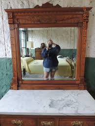 Antique Birdseye Maple Dresser With Mirror by Antique Eastlake Walnut Marble Top 3 Over 2 Dresser With Beveled