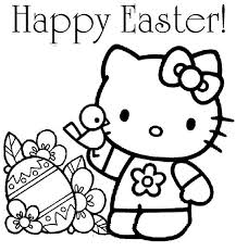 Hello Kitty Happy Easter Coloring Page