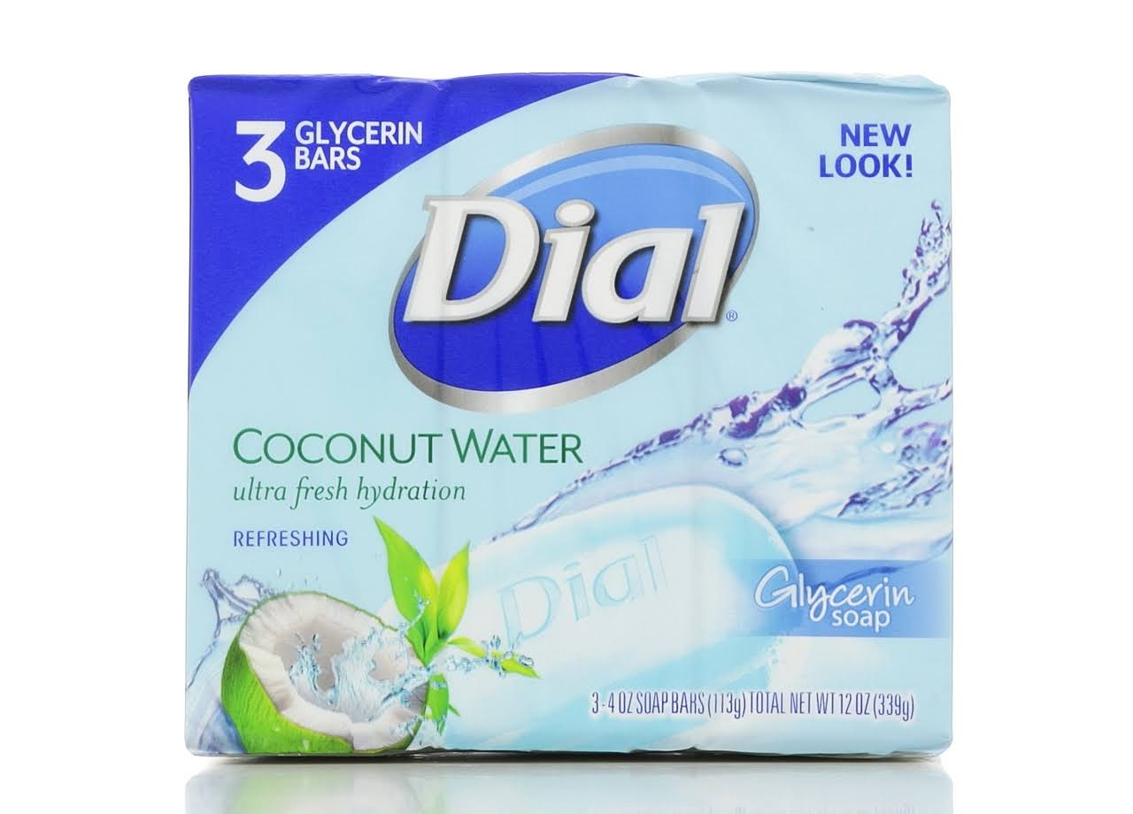 Dial Soap Bar - Coconut Water, 3 Glycerin Bars