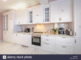 Modern White Kitchen Interior 3d Rendering Stockfoto Und Luxury Modern White Kitchen Interior Stock Photo Alamy