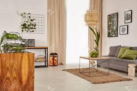 wohnzimmer mit bequemem sofa und holzmöbeln