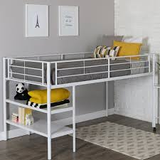White Metal Bed Frame Low Loft Bed with Desk & Shelves