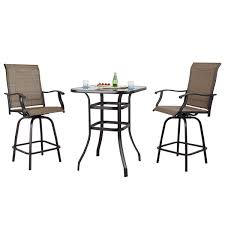 Amazon.com: PHI VILLA Patio 3 PC Swivel Bar Sets Textilene High ... Bar Outdoor Counter Ashley Gloss Looking Set Patio Sets For Office Cosco Fniture Steel Woven Wicker High Top Bistro Tables Stool Cabinet 4 Seasons Brighton 3 Piece Rattan Pure Haotiangroup Haotian Sling Home Kitchen Hampton Lowes Portable Propane Chair Walmart Room Layout Design Ideas Bay Fenton With Set Of Coffee Table And 2 Matching High Chairs In Portadown Carleton Round Joss Main Posada 3piece Balconyheight With Gray