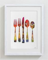 Wooden Fork And Spoon Wall Hanging by Fork And Spoon Art Watercolor Painting 5x7 Archival Print