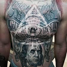 Illuminati All Seeing Eye Money Mens Stomach Tattoo Designs