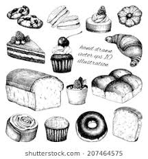 Vector Collection Of Black Ink Hand Drawn Breads And Pastries Illustration Isolated On White Background For