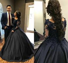 navy blue ball gown quinceanera dresses off shoulder long sleeves