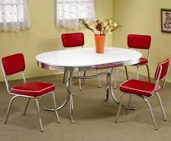 Retro 1950s Oval Dining Table And Red Chair 5 Piece Set By Coaster 2065 2450R