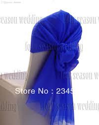 wholesale royal blue chair hood wrap tie back sash bow printed