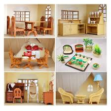 New Arrival Sylvanian Families Toys House Furniture Miniature Dollhouse Bathroom Living Room Brinquedos Meninas Silvani Femili