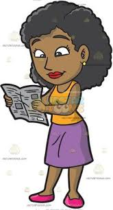 A Black Woman Reading The Newspaper With Big Curly Hair Wearing Gold