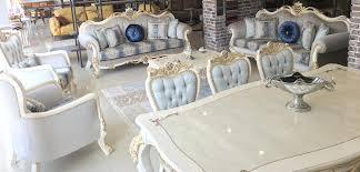 casa padrino luxus barock wohnzimmer set grau blau weiß gold 2 sofas 2 sessel 1 couchtisch wohnzimmer möbel im barockstil edel