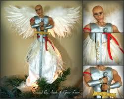 Collage Male Guardian Angel Warrior Christmas Tree Topper Holiday Decor Uniquely Grace Lauer Clay Mixed Media 1024x819