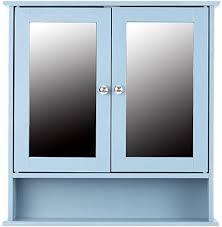 ikayaa badezimmer spiegelschrank mit 2 türen 56 x 58 x 13 cm blau
