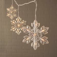 Icicle String Lights 5 Acrylic Snowflakes 8 ft Outdoor Warm White
