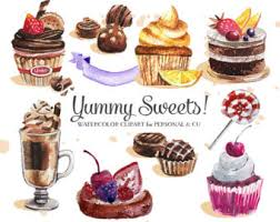 Cupcakes Clipart Watercolor Vector Sweets Cupcakes Deserts Clipart Vector Chocolate Cupcakes Clipart mercial Use CU OK