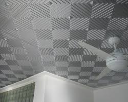 awesome gray silver ceiling tile idea with cool geometric stripes