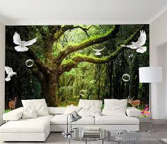 großhandel europäische 3d stereoskopische tapete grün baum wald benutzerdefinierte 3d wandbilder wohnzimmer vliestapete dekoration hause