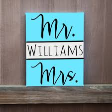 Mr Mrs Custom Last Name Canvas Hand Painted 12x12 11x14 16x20 CanvasCanvas Word ArtDiy