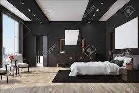weißes schlafzimmer interieur mit einem großen bett mit einer weißen decke einem holzboden einem loft fenster und einem schrank mit einem spiegel