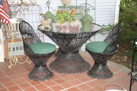 Vintage Wicker Woodard Patio Furniture With Green Cushions