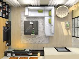 100 Modern Interior Magazine View From Above On The 3D Rendering Photo In