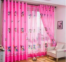 mickey and minnie mouse idea for kids bedroom curtains in pink