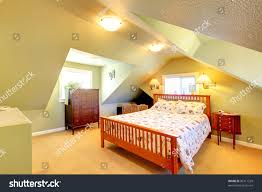 100 Bedroom Green Walls Cozy Attic Large Stock Image Download Now