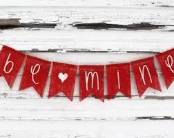 Valentines Day Decor Banner Burlap Garland Bunting Be Mine