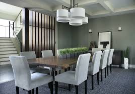Modern Dining Table With Fresh Green Plants Centerpiece