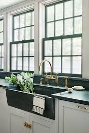 Full Size Of Appliances Black Marble Apron Kitchen Sink With Gleaming Brass Faucet Double Hung