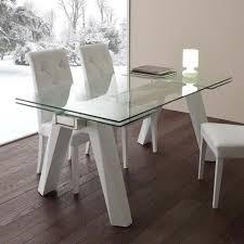 ausziehbarer tisch aus glas edelstahl und metall weiß florida