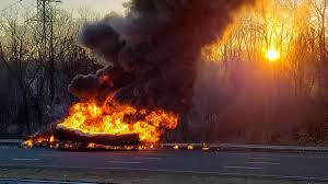 100 Truck Explosion Massive Tanker Fire Causes Huge Mess On I91 In Rocky Hill NBC