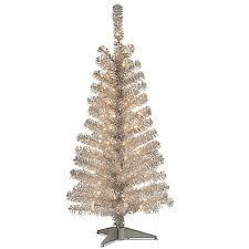 Pre Lit Silver Tinsel Tree 4 Clear