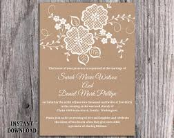DIY Lace Wedding Invitation Template Editable Word File Download Printable Rustic Burlap Vintage Floral