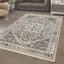 wohnzimmer teppich kurzflor marokkanisches design mit bordüre und ornamenten farbe beige größe 200x290 cm