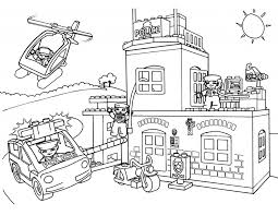Lego Police Station Coloring Pages With Car Helicopter And Motorcycle