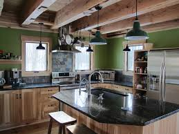 Log Cabin Kitchen Cabinet Ideas by Modern Rustic Kitchen Design With Green Wall Mixed And Fetching
