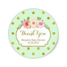 Mint Gold Dots Floral Baby Shower Favor Tags